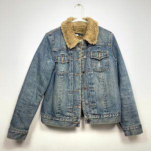 GAP Faux Fur Lined Light Wash Denim Jacket Blue